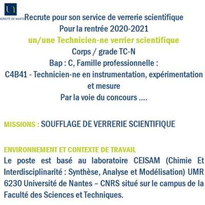 Offre poste souffleur UMR 6230 Nantes 2020